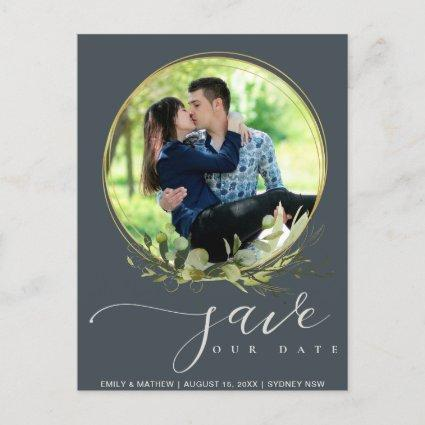 LEAFY GREY FOLIAGE WATERCOLOR PHOTO SAVE THE DATE ANNOUNCEMENT