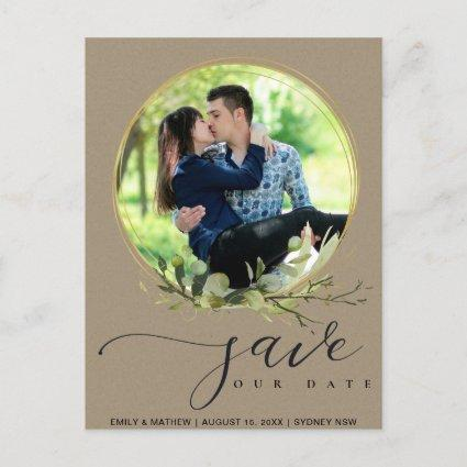LEAFY KRAFT FOLIAGE WATERCOLOR PHOTO SAVE THE DATE ANNOUNCEMENT