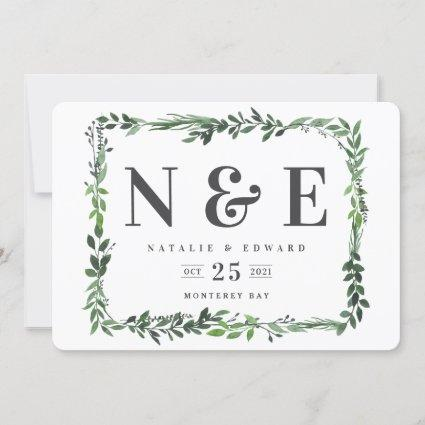 leafy watercolor floral save the date