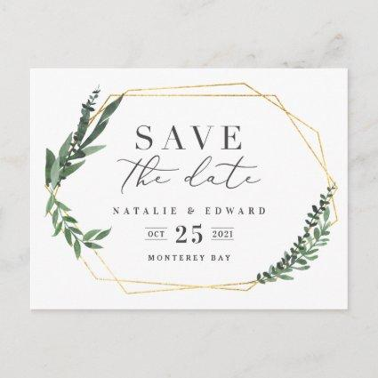 leafy watercolor floral save the date Announcements Cards