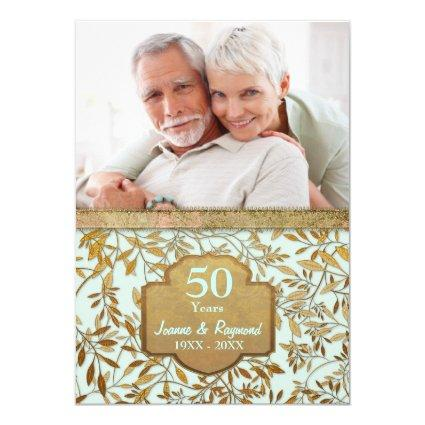 Leaves Of Gold 50th Wedding Anniversary Cards