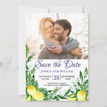 Lemons Chic Photo Wedding Save the Date Invitation