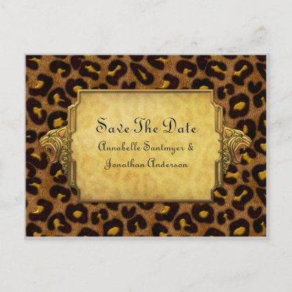 Leopard Print Gold Leopard Heads Save The Date Announcements Cards