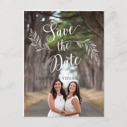 Lesbian Couple Rustic Leaf Save the Date Cards