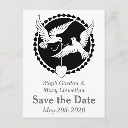 Lesbian Love Doves Elegant Save the Date Cards