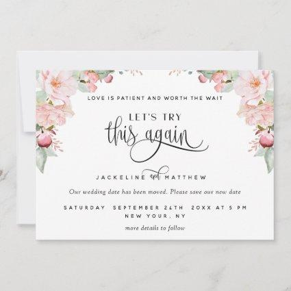 Let's Try This Again, Blush Pink Rose Gold Floral Save The Date