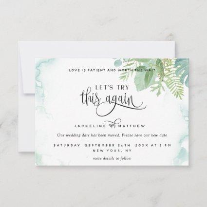 Let's Try This Again, Elegant Greenery Watercolor Save The Date