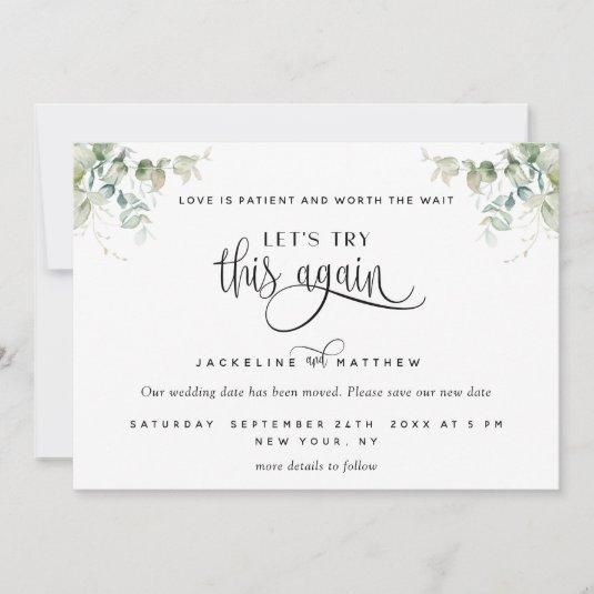 Let's Try This Again, Love is Patient Greenery Save The Date