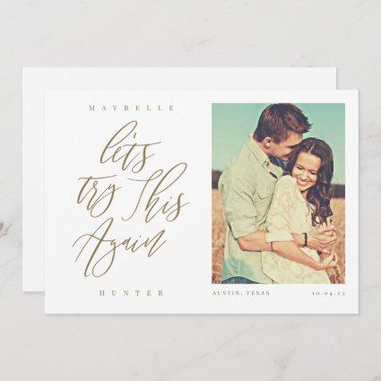 Let's Try This Again Modern Calligraphy & Photo Save The Date