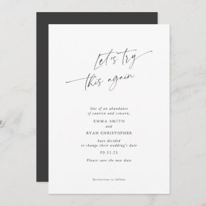 Let's try this again, simple, elegant, calligraphy save the date