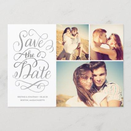 Lettered Silver Faux Foil Save The Date Collage