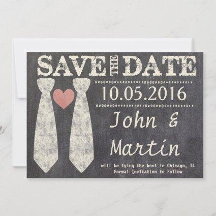 LGBT Tying the Knot Faux Chalkboard Save the Date