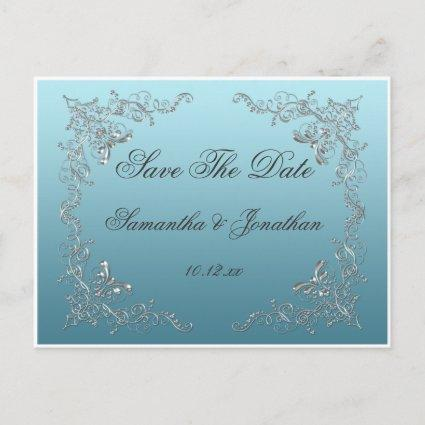 Light Blue Ornate Silver Swirls Save The Date Announcement