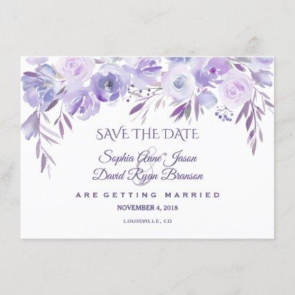 Light Purple Dusty Blue Floral Save The Date