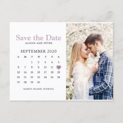 Light Purple Wedding Save the Date Calendar Photo Announcement