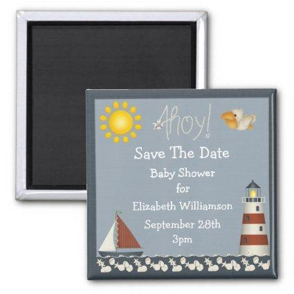 Lighthouse & Sailboat Save The Date Baby Shower Magnet