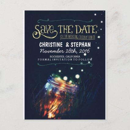 lights mason jar rustic romantic save the date announcement