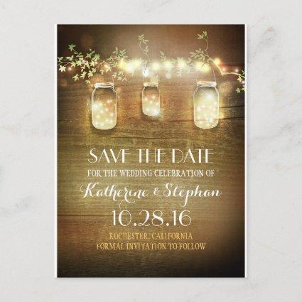 lights & mason jars rustic SAVE THE DATE Cards
