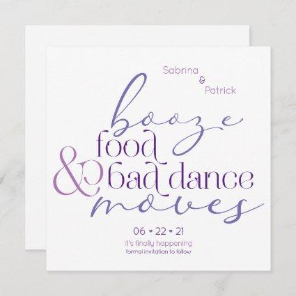 Lilac Booze Food Bad Dance Moves Save theDate Invitation