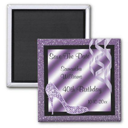 Lilac Glittery Stiletto & Streamers 40th Birthday Magnet