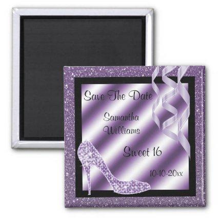 Lilac Glittery Stiletto & Streamers Sweet 16 Magnet