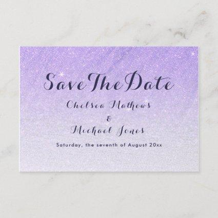 Lilac lavender faux glitter ombre Save The Date