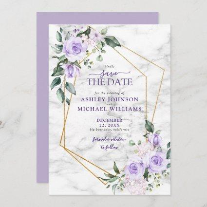 Lilac Lavender Gold Geometric Save the Date