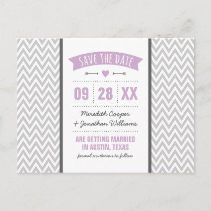 Lilac Purple and Gray Modern Chevron Save the Date Announcements Cards