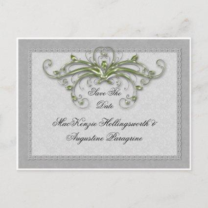 Lime and Silver Enbellished Swirls Save The Date Announcement