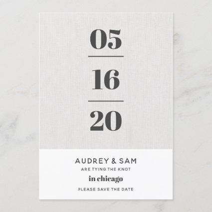 Linen Modern Minimal Save the Date