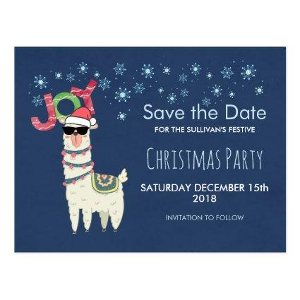 Llama in Santa Hat with Snowflakes Save the Date Cards