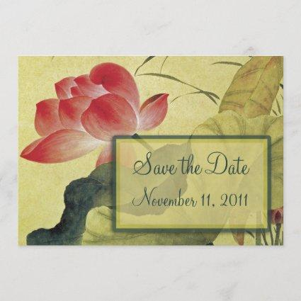 Lotus Blossom Wedding Save the Date Notice