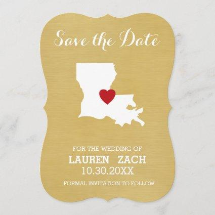 Louisiana Home State Map - Wedding Save the Date