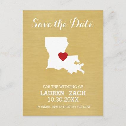 Louisiana Home State Map - Wedding Save the Date Announcement