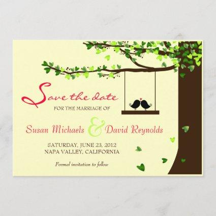 Love Birds Falling Hearts Oak Tree Save the Date