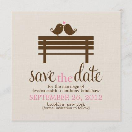 Love Birds on Park Bench Wedding Save The Date