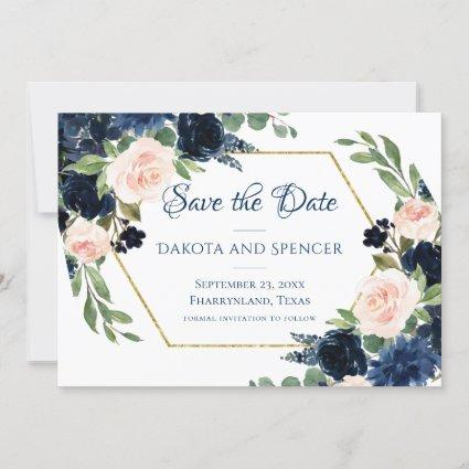 Love Bloom | Chic Blush Navy Floral Wedding Save The Date