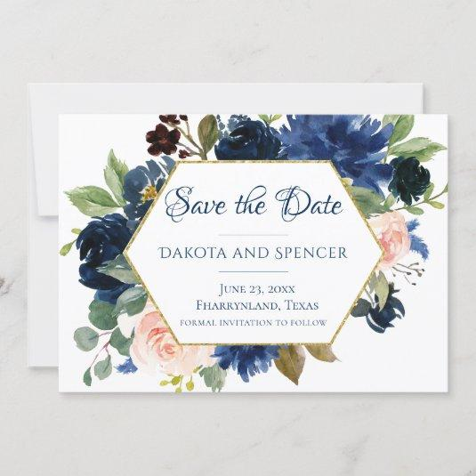 Love Bloom   Chic Blush Navy Floral Wreath Wedding Save The Date