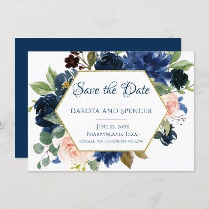 Love Bloom | Chic Blush Navy Floral Wreath Wedding Save The Date