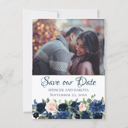 Love Bloom | Chic Navy Blush Floral Wedding Photo Save The Date