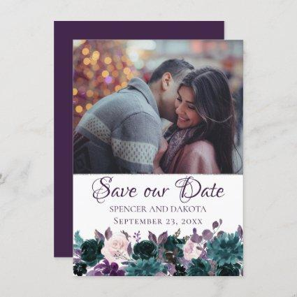 Love Bloom | Eggplant Moody Purple Floral Photo Save The Date