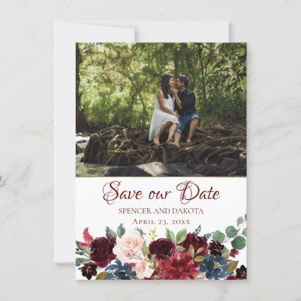 Love Bloom | Elegant Burgundy Marsala Photo Save The Date