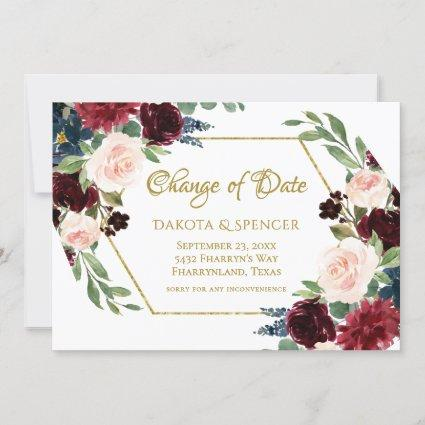 Love Bloom | Elegant Red Floral Delay Date Change Save The Date
