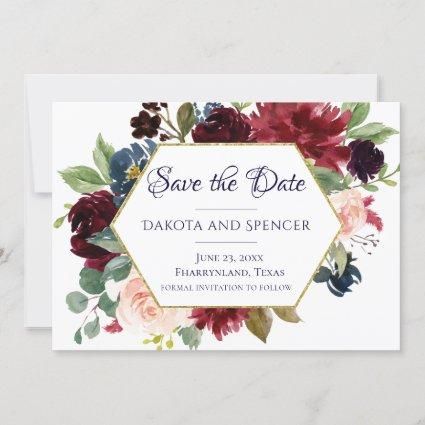 Love Bloom | Rustic Navy Burgundy Floral Save The Date