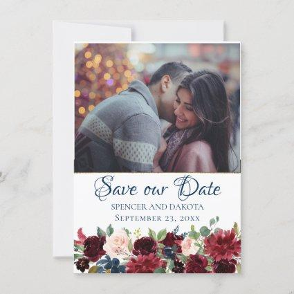 Love Bloom | Rustic Navy Burgundy Photo Save The Date
