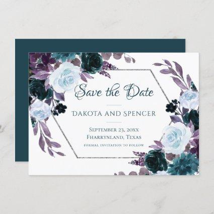 Love Bloom   Teal and Turquoise Dark Moody Wedding Save The Date