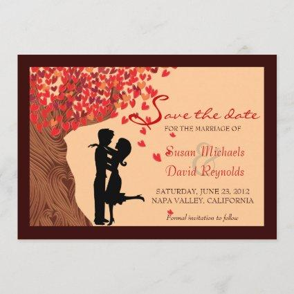 Love Couple Falling Hearts Oak Tree Save the Date
