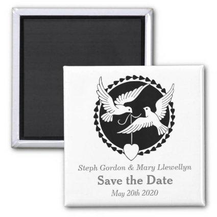 Love Doves Elegant Save the Date Wedding Magnets
