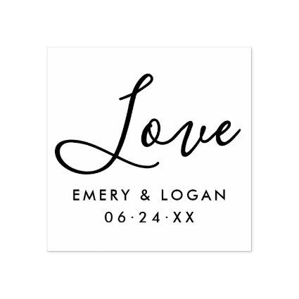 Love in Hand Lettered Script | Wedding Monogram Rubber Stamp