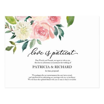 Love Is Patient Blush Floral Wedding Postponement